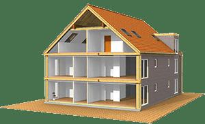Prefab house assembling koka mājas